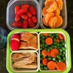 "#Teuko lunchbox: cherry tomatoes, pork loin cutlet, steamed peas & carrots, bread (baguette) & ""round"" cheese, mandarine, water.  By Jessica, www.teuko.com"