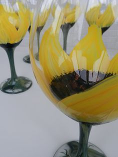 Hand Painted Wine Glasses - Hand Painted Sunflower Set of 6