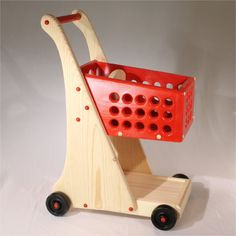 Items similar to Toy Cart Pretend Shopping Cart Wooden with Doll Seat - Free Packaged Grocery Blocks Included - a 29 dollar value on Etsy Wooden Pallet Projects, Wooden Pallets, Wooden Diy, Toddler Toys, Baby Toys, Kids Toys, Wooden Wheelbarrow, Montessori Toys, Wooden Kitchen