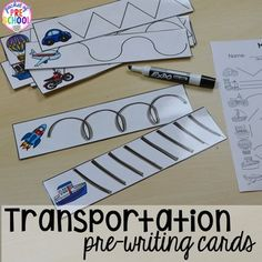Transportation Math and Literacy Centers are loaded with fun, hands on transportation themed activities to help your students build math and literacy concepts! Literacy skills covered are letter identification, beginning sounds, building vocabulary words, Preschool Writing, Preschool Lessons, Preschool Classroom, Classroom Activities, In Kindergarten, Preschool Crafts, Literacy Skills, Literacy Centers, Math Literacy