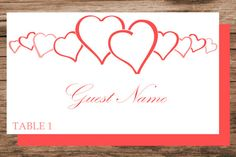 Hearts place card template instant download by WeddingTemplatesHub