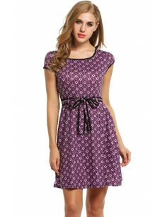 Purple Women Cap Sleeve Vintage Style Floral Print Pleated Mini With Belt Casual Dresses