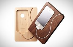 Carved wooden docks for the iPhone 4/4S from Japan