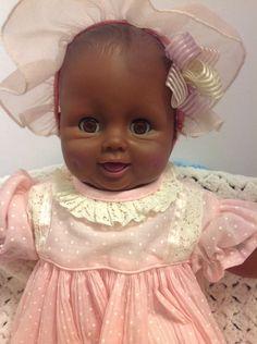"Vintage Uneeda Black Baby Doll 18"" Dimples Adorable #Uneeda #DollswithClothingAccessories"
