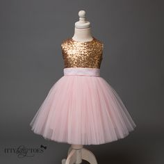 Princess Kate Dress (Gold & Pink) - Itty Bitty Toes  - 2
