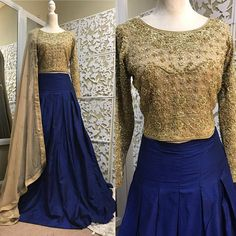 Gorgeous full length,box-pleated skirt in royal blue color on rawsilk fabric. Inner under skirt will be tulle fabric for voluminous look. skirt comes with pockets and side zipper closure. Choli is on pure chiffon fabric with gold embroidery on full front and sleeves, comes with