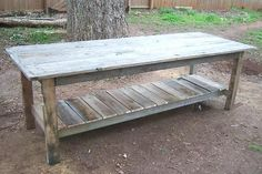 Pallet Tables Projects Farmhouse Table plans from pallets. cost is approx TWO DOLLARS ; Pallet Crafts, Pallet Projects, Home Projects, Pallet Ideas, Woodworking Projects, Teds Woodworking, Woodworking Guide, Popular Woodworking, Garden Projects