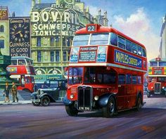 London Painting - London Transport by Mike Jeffries Uk Transport, Public Transport, London Bus, Old London, Rt Bus, Transport Pictures, London Painting, Bus Art, Routemaster