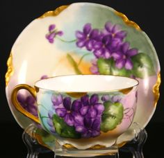 Beautiful Hand Painted Tea Cup and Saucer Set Haviland France Gold in Limoges | eBay