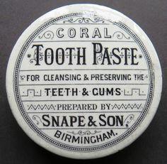 VICTORIAN SNAPE CORAL TOOTH PASTE BIRMINGHAM POT LID Old Crocks, Victorian Life, Pot Lids, Typography, Lettering, Vintage Perfume, Vintage Labels, Vintage Advertisements, Vintage Ceramic