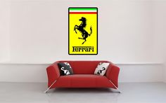 "48"" Ferrari logo italian sports car classic vintage emblem Wall Graphic Decal Kids Game Man Cave Room Decor Sticker Art"