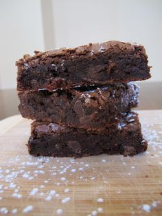 Easy and quick homemade fudgy brownies. I made these tonight. This recipe is much better than the standard recipe on the cocoa container. More eggs. :)  Nice and moist with chewy edges.