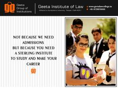Join ‪#‎GeetaInstituteOfLaw‬ to make your career in field of Law! Visit: www.geetalawcollege.in or call-+91-9729970000.