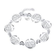 03a Charming 7pcs Tree of Life Pendant Bracelet 925 Jewelry Silver Plated Cute Hot Fancy Popular Bracelets Bangles Religion Totem  #silver #animal #jewelry