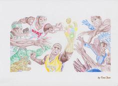 Nba Superheroes  Drawing  - Nba Superheroes  Fine Art Print