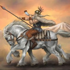 Odin riding his 8 legged steed Sleipnir. Odin was the Norse equivalent of Sagittarius.
