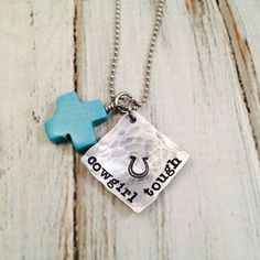 Cowgirl Tough - Hand Stamped Necklace - cowgirl necklace, Howlite Cross, Cowgirl Up, Western Jewelry - pinned by pin4etsy.com