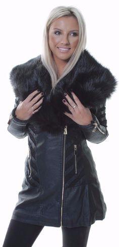 New Womens Black Jacket Faux Fur Collar Leather Effect Long Coat 10 12 14 16 18 | Abbigliamento e accessori, Donna: abbigliamento, Cappotti e giacche | eBay!
