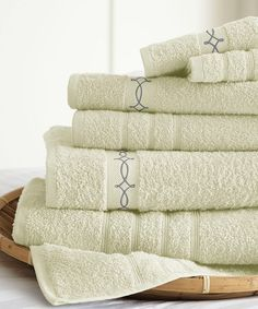 Another great find on #zulily! Ivory Embroidered Vintage Ribbon Towel Set #zulilyfinds