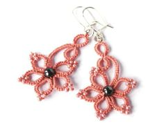 Tatted lace earrings, salmon pink tatting, sterling silver ear wires