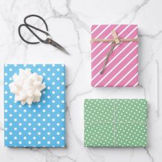 Cute Fun Blue Pink Green Stripes Polkadots Pattern Wrapping Paper Sheets Pink Wrapping Paper, Wedding Wine Bottles, Hipster Design, Christmas Card Holders, Paper Gift Bags, Gift Wrapping Supplies, Wedding Wraps, Ink Stamps, Stripes Fashion