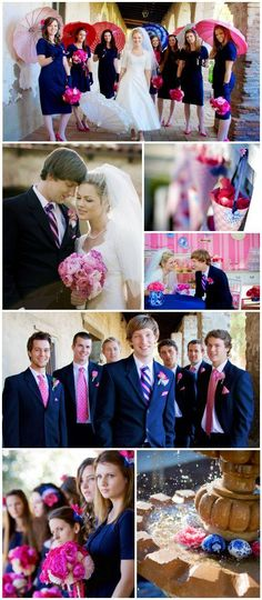 Wedding Colors: Fuchsia and blue. Love the groom's tie (stripes in wedding colors) and different ties for groomsmen
