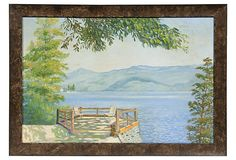 """1960s landscape of a river's edge with mountains. Signed """"E. Reed."""""""