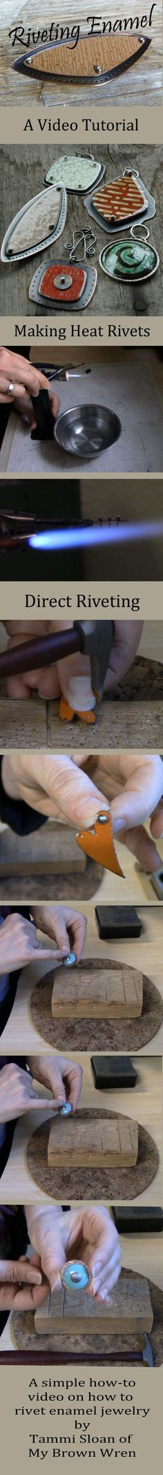 A simple video tutorial on how to safely rivet your enamel jewelry using cold connections and heat rivets #jewelrymakingmetals #jewelrytips