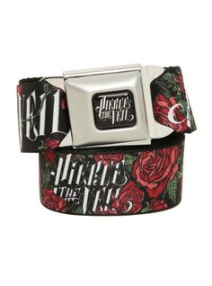 Pierce The Veil roses design belt with an authentic seat belt closure.