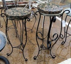 Marble Top and Iron Base Plant Stand  $30 Each   Dealer #282  Lula B's  1010 N. Riverfront Blvd. Dallas, TX 75207  Open Daily Mon. -- Sat. 10 to 6 Sun. 12 to 6  Like us on Facebook: http