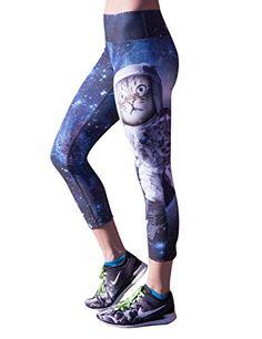 eea337133065f HUINI Womens Yoga Sport Pants Cartoon Space Meow Star Printed Workout Dance  Leggings Size M *
