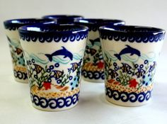 Polish pottery tumblers! - cute gift for Ken's parents since they have dolphins?