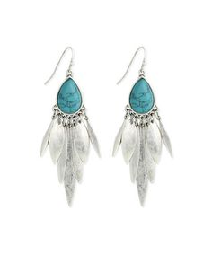 Look at this #zulilyfind! Turquoise & Silvertone Chandelier Earrings by ZAD #zulilyfinds