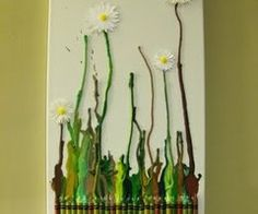 melted crayon daisies