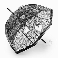 Black Clear Heart Design Dome Bubble Rain Umbrella.... Lacey with hearts and it works.