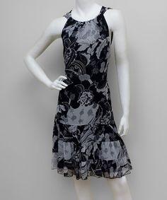 Look what I found on #zulily! Black & Gray Floral Drop-Waist Dress #zulilyfinds