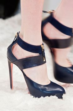 Blumarine Dark Blue High Heeled Sandals Fall 2014 #Shoes #Heels