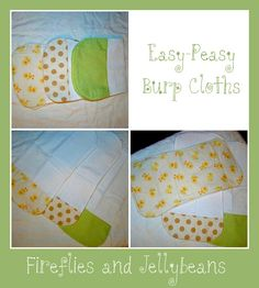 Fireflies and Jellybeans: Easy-Peasy Burp Clothes! A great baby gift!