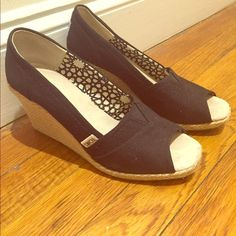 TOMS Black Canvas Peep Toe Wedge Versatile and comfortable wedges. Perfect for spring / summer. TOMS Shoes Wedges