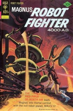 Items similar to Magnus Robot Fighter 24 Comic, Silver Age books. 1968 Gold Key, VF- on Etsy Sci Fi Comics, Old Comics, Vintage Comics, Silver Age Comics, Science Fiction Books, Pulp Fiction, Comic Book Covers, Comic Books Art, Book Art