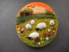 Hand Made Needle Felted Brooch/Gift -   Sunset in the Meadow   by Tracey Dunn pretty sheep inspired textile art jewellery craft design