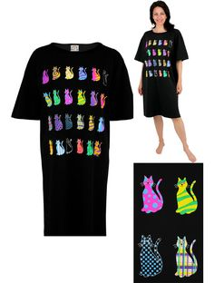 Rainbow Cats Nightshirt - Every Purchase Funds Food and Care for Rescued Animals.