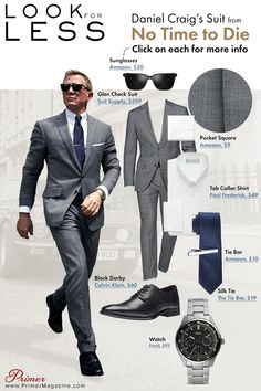 Get James Bond's glen check gray suit look from No Time to Die with these budget-friendly affordable alternatives. James Bond Outfits, James Bond Suit, Bond Suits, James Bond Style, Tom Ford スーツ, Tom Ford Suit, Daniel Craig Suit, Daniel Craig Style, Daniel Craig James Bond