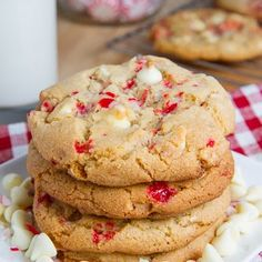 Peppermint White Chocolate Chip Cookies Recipe Desserts with butter, brown sugar, white sugar, eggs, vanilla extract, all-purpose flour, baking soda, salt, white chocolate chips, candy canes