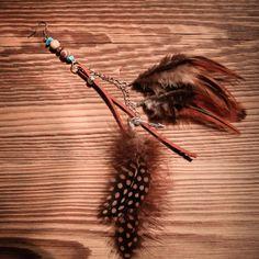 boucles d'oreilles solitaire style bohème marron et turquoise : Boucles d'oreille par gg-naturaboutik