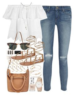 """Outfit for summer with tan accessories"" by ferned ❤ liked on Polyvore featuring Paige Denim, Topshop, Ray-Ban, Madewell, Wet Seal, Steve Madden, ASOS and Marc by Marc Jacobs"