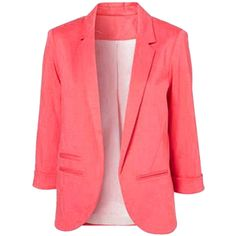 Choies Slim Blazer In Pink (43 CAD) ❤ liked on Polyvore featuring outerwear, jackets, blazers, pink, tops, pink jacket, red slim fit blazer, pink blazer, red blazer and pink blazer jacket