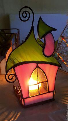 Купить Домик Феи - комбинированный, Витраж Тиффани, медь с патиной, сувениры и подарки, подсвечник