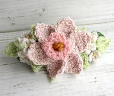 Crochet Hair Barrette Pink Daffodil with White Flowers by meekssandygirl, via Flickr