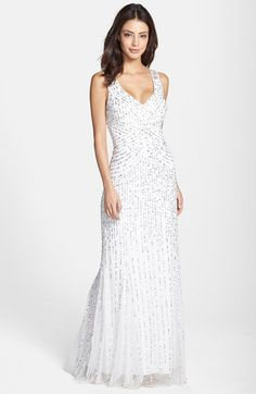 f3ac4a0f0 Aidan Mattox Sleeveless Embroidered Mesh Gown available at #Nordstrom  Wedding Dresses Under 500, Wedding